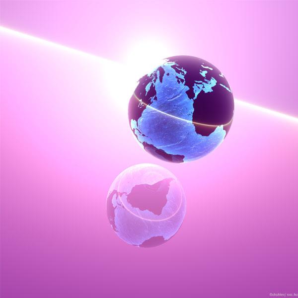 relation à distance - globe terrestre pourpre